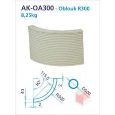 Oblouk R300 akumulační drážkovaný 250x90d -4 do kruhu - AK-OA030