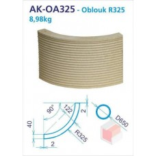 Oblouk R325 akumulační drážkovaný 250x90d -4 do kruhu - AK-OA0325