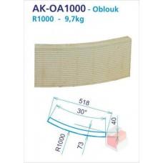Oblouk R1000 drážkovaný 250x30d -12 do kruhu - AK-OA1000