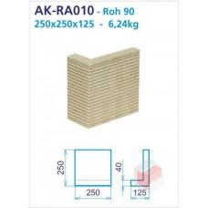 Roh 90 akumulační drážkovaný 125x250x250x40 - AK-RA010