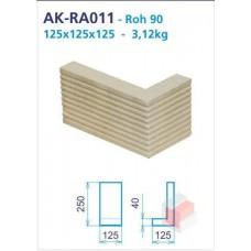Roh 90 akumulační drážkovaný 125x250x125x40 - AK-RA011